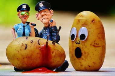 A murdered potato with a sad potato and two cops